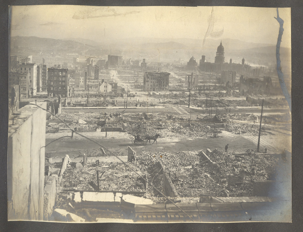 The San Francisco Earthquake: The Ruins Of City Hall In The Distance, Looking Southeast From The Vicinity Of Nob Hill