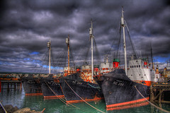 Whaling fleet ... (asmundur) Tags: abandoned boats iceland cloudy harbour ships hunting 2006 reykjavik april whale whales fleet whaling hdr darksky photomatix