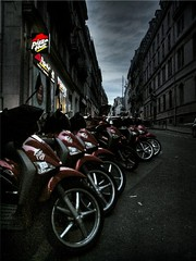 the last meal ([phil h]) Tags: street urban 15fav paris france topf25 wheel topv111 1025fav 510fav wow dark concrete topv555 topv333 europe 500plus minolta wheels grain topv444 overcast scooter 2006 topv222 pizza repetition april delivery blogged scooters a200 parisist hdr konicaminolta visit75008 75008 gloomyheart utatathursdaywalk01 utatahotwheels hiphiutatafeature
