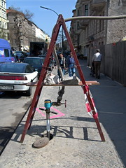 """A"" letter ladder (piktorio) Tags: street berlin water sunshine hydrant kreuzberg germany spring offshore warmth streetlife hose letter ladder lettera foundsculpture a sculpturetrouve"