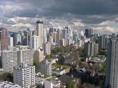From the Coast Hotel on Comox Street, a pretty nice skyline of downtown Vancouver.