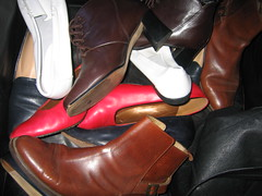 got shoes for Wendy's housewarming (deepwarren) Tags: shoes boots gifts courts freecycle