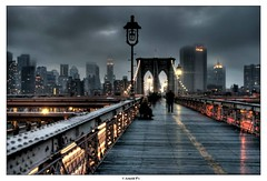 When the night Falls on New York CIty (Arnold Pouteau's) Tags: nyc newyorkcity newyork skyline clouds nightshot manhattan brooklynbridge gotham hdr f25 downtwon fromthebridge nyc10