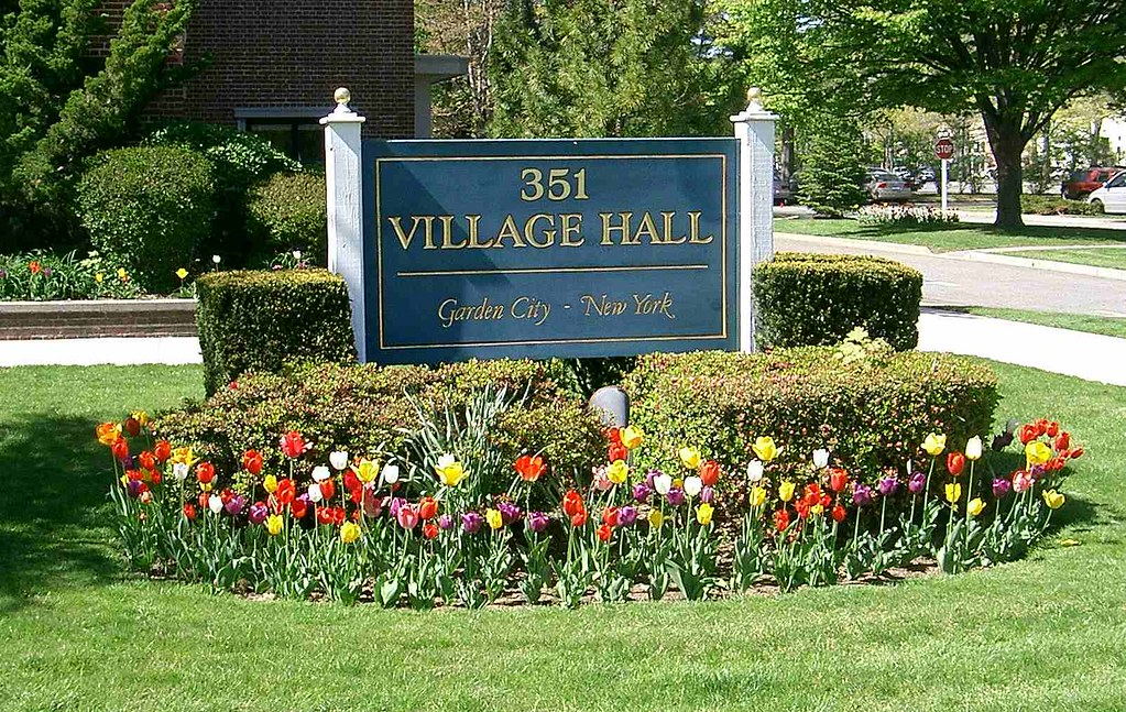 Garden City NY, Village Hall sign