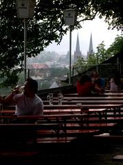 Freiburg, Jul 2004 (Just Back) Tags: summer beer germany table deutschland view drink elbow mug bier freiburg krug biere biergarten tische chope