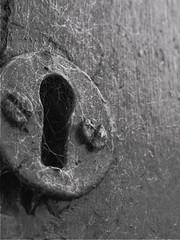 silky entrance (limowreck666) Tags: white black macro monochrome strange closeup mono spider weird miniature key experimental close little unique small experiment cobweb tiny mad keyhole cob arachnophobia mental macrophoto macrophotography