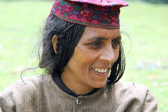 A Gujjar Lady on the foothills of some Himalayan Paradise (lecercle) Tags: people india smiles kashmir kashmiri