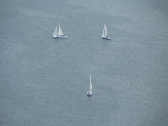 3 Sailboats in the Inner Harbor