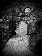 two arches (flappingwings) Tags: bw oslo norway arches akershus fortress akershusfortress