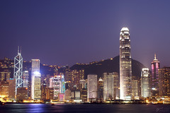 Hong Kong Gets Ready to Party! (Steve Webel) Tags: china sky water skyline hongkong lights cityscape purple nightshot dusk peak   ifc bankofchina victoriaharbor boc 2ifc
