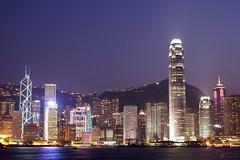 Hong Kong Gets Ready to Party! (Steve Webel) Tags: china sky water skyline hongkong lights cityscape purple nightshot dusk peak   ifc bankofchina victoriaharbor boc 2ifc