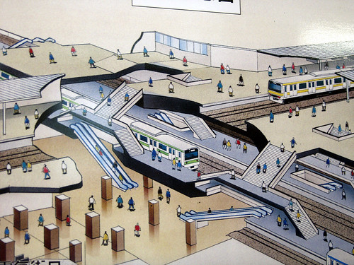 Tokyo Subway Station Diagram (Cut-Away Axonometric) / Leonardo Bonanni
