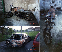 Burned bike 1990, Minchinhampton, Glos. (Eleventh Earl of Mar) Tags: bike out fire ride debris leeds scooter gloucestershire motorbike motorcycle moped insurance 1990 burned arson kawasaki bikers trashed fordescort twoc minchinhampton 100cc