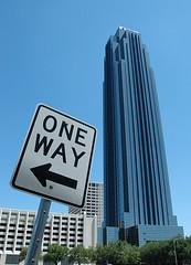 One Way or Another (jeffbalke) Tags: texas streetsign houston galleria waterwall transcotower williamstower