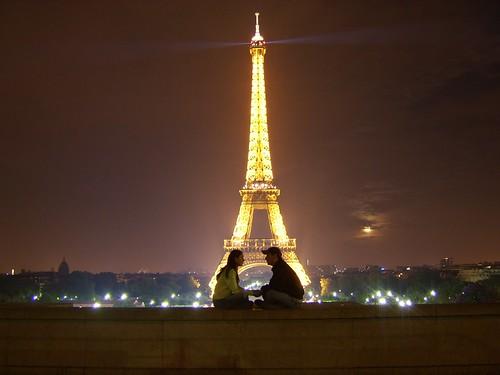 Night Romance Couple Eiffel Couple Love Romance