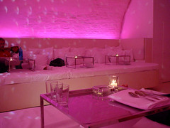 nektar (kay.tee) Tags: pink light munich table restaurant glasses bed candles interior room lounge spoon duvet cocoon nektar cusion bedrestaurant