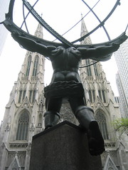 NYC: St. Patrick's Cathedral behind Atlas (wallyg) Tags: nyc newyorkcity sculpture ny newyork church statue nhl catholic cathedral manhattan gothic perspective stpatrickscathedral rockefellercenter landmark midtown atlas artdeco gothamist stpatrick neogothic saintpatricks stpatricks mythology greekmythology rockefellerplaza saintpatrickscathedral archbishop leelawrie gothicrevival saintpatrick parishchurch renechambellan nationalhistoriclandmark nationalregisterofhistoricplaces ladychapel romancatholicarchdiocese usnationalhistoriclandmark nrhp neobyzantine cathedralofstpatrick neotudor rectoryandcardinalsresidence aia150 cathedralofsaintpatrick usnationalregisterofhistoricplaces newyorkcitylandmarkspreservationcommission nyclpc renepaulchambellan