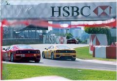 The tail ends of 3 Ferrari 360 Modenas. (Steve Brandon) Tags: auto 15fav canada car skyline geotagged quebec montreal 360 ferrari racing modena sportscar sportscars exoticcars f360 exoticcar  ferrari360     circuitgillesvilleneuve  ilenotredame  ferrari360challenge