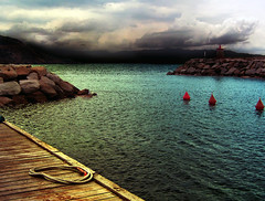 port in Corse (createsimona) Tags: bridge sky port dark quiet darkness cloudy corsica rope creepy spooky waterscape francerocks