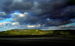 Contrast (Loutseu) Tags: road blue sky cloud sun green clouds soleil vert bleu route ciel nuage nuages millau