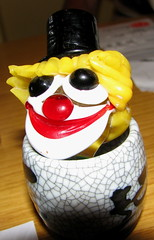 Scary arsed glass clown head