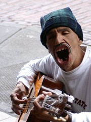Singing - 2nd shot (Creativity+ Timothy K Hamilton) Tags: seattle portrait musician mouth singing guitar sing pikestreet streetmusician