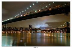 Under the Manhattan Bridge (Arnold Pouteau's) Tags: nyc newyorkcity bridge newyork night cloudy manhattan dumbo spot3 brookliyn lingexposure