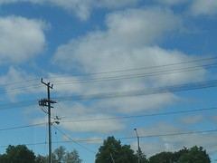 Plane (theapoc) Tags: blue trees sky lamp plane fly flying post telephone olympus pole apoc sp320