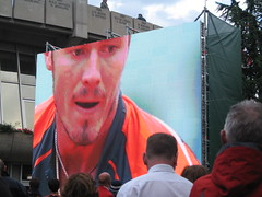 Close-up of Safin on the big screen (aloha_pineapple) Tags: paris france tennis rolandgarros grandslam frenchopen maratsafin frenchopen2006