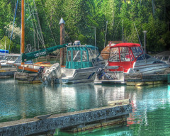Finnigh_HDR - 9325 (finnigh) Tags: ocean morning trees red sea sunlight green water colors reflections outdoors woods forrest britishcolumbia victoria formation rides hdr fishboats 3xp summerscenes