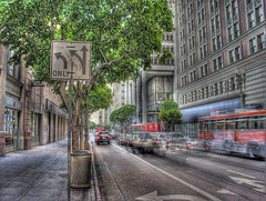 rushing to leave downtown after 6 (Kris Kros) Tags: auto california road ca street usa building bus public car cali photoshop photography la us losangeles interestingness high cool interesting nikon pix downtown traffic dynamic cs2 ps socal kris van range trafficsign hdr jjj kkg 3xp photomatix pscs2 kros kriskros kk2k kkgallery