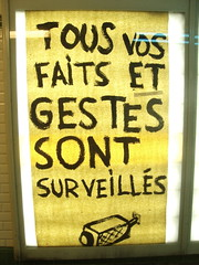 Watch out! (Tendance Flou) Tags: urban paris sign yellow subway poster media metro surveillance graf nopeople posterised mtroparisien tendanceflou