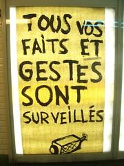 Watch out! (Tendance Flou) Tags: urban paris sign yellow subway poster media metro surveillance graf nopeople posterised mtroparisien tendanceflou