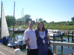 a rare photo of the two of us (Chaymation) Tags: wedding holland windmill boat emma chay holiday2006