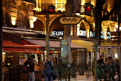 paris at night...boulevard st. michel (Love the 214) Tags: travel vacation people paris france night photoshop watercolor metro views stmichel 1000 blvd cafes