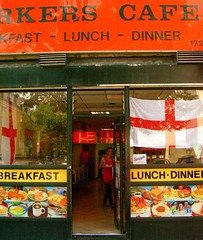 Full English (Herschell Hershey) Tags: street england food london english sign cafe flag fast patriotic full upper worldcup waitress islington fullenglish workerscafe