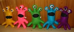 Alien Monsters doing the Project Spectrum lineup (Rhelynn) Tags: monster project mos toys stuffed rainbow doll soft dolls spectrum handmade sewing alien craft softies handsewn stuffies tentacle sewn imadeitmyself eyestalk projectspectrum