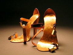 The Latest Invention of the Marquis de Sade (opened) (mleak) Tags: sculpture art metal bronze shoes steel copper heels heel etsy stiletto brass stilettos artbear