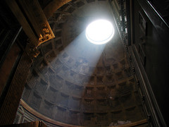 Interior of the Pantheon in Rome, Italy (SDBryan) Tags: light italy rome roma building church architecture 1025fav europe italia roman interior pantheon ceiling dome shaft 2for2 5hits