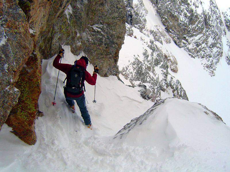 Setting up in the entrance to Sentinel Couloir