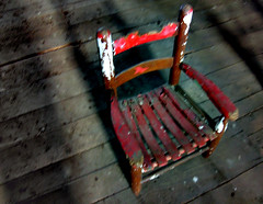 Old Red Chair (adamantine) Tags: old red blur childhood barn blurry chair antique newhampshire