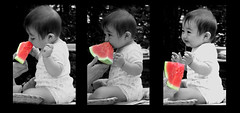 First Taste.. (~Dezz~) Tags: blackandwhite bw baby cute joshua watermelon selectivecolor 5hits btlt abigfave