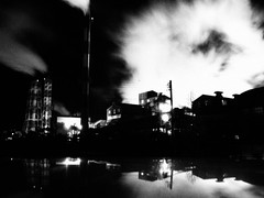 (Ch@rTy) Tags: bw industry night dark photography smog place darkness photos smoke famous landmarks places landmark charlie pollution hachinohe tyack charlietyackcom