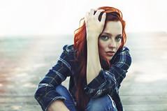 Julia (caras.muffin) Tags: red summer portrait lake water hair 50mm cool model pentax makeup selftaught chucks