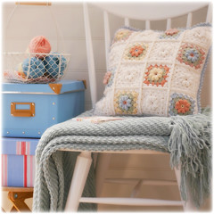 (Mary Jane's TEAROOM) Tags: pink blue white yellow crochet peach workroom pastels cushion maryjanestearoom