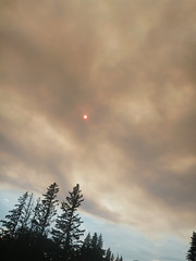 Smokey sky (lgoub) Tags: sun canada nationalpark smoke saskatchewan princealbert wildfire waskesiu northerncanada mapleland princealbertpark waskesiulake