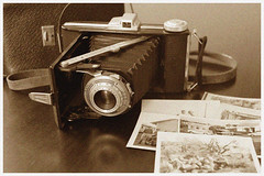 Dad's old camera (Karen Tregoning Photography) Tags: camera stilllife film sepia vintage photos grain filmcamera grainy agfa oldcamera agfabillyrecord