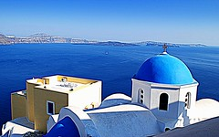 blues of Oia (mujepa) Tags: blue church bleu santorini greece caldera orthodox orthodoxe glise santorin oia caldeira