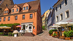 Meissen Street Corner (stephencurtin) Tags: street corner germany outdoors colorful umbrellas quaint cafes meissen unanimouswinner thechallengefactory
