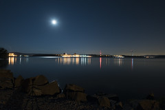 Indian Point Energy Center (mudpig) Tags: moon newyork reflection night river outdoors photography shoreline nuclear license electricity getty moonlight hudsonriver powerline powerplant gettyimages entergy indianpoint mudpig stevekelley stevenkelley licensenow